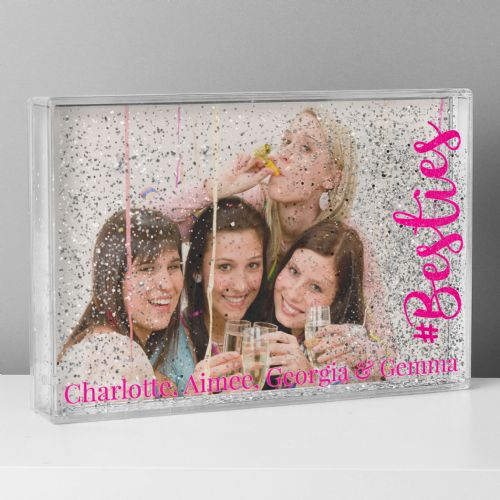 Personalised Friends photo frame #Besties 6x4 Glitter Shaker Photo Frame
